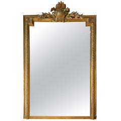 Large French Louis XVI Style Giltwood Mirror, 19th Century