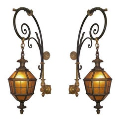 Large French Louis XVI Style Iron and Bronze Wall Lanterns, French, circa 1860