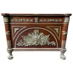 Large French Mahogany Empire Commode, Central Coats of Arms and Lion Paw Feet
