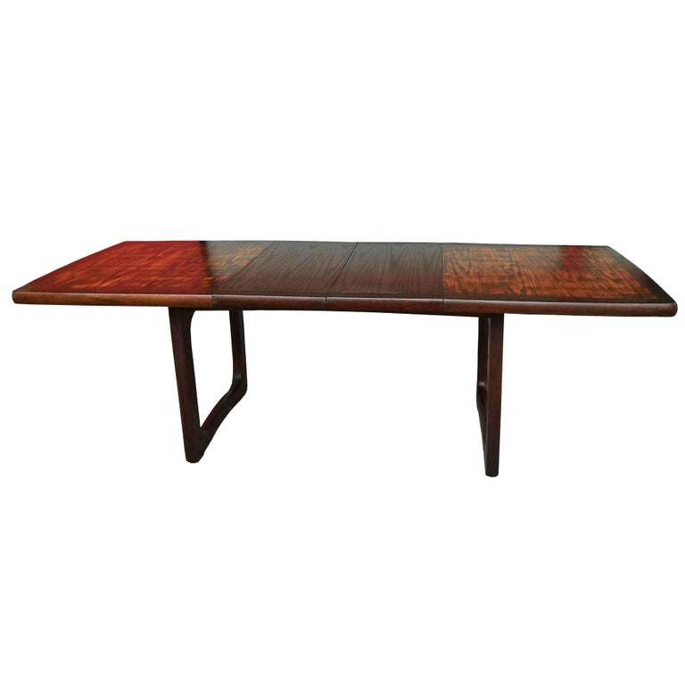 Large French Mahogany Mid Century Modern Extendable Dining Or - Mid century modern conference table