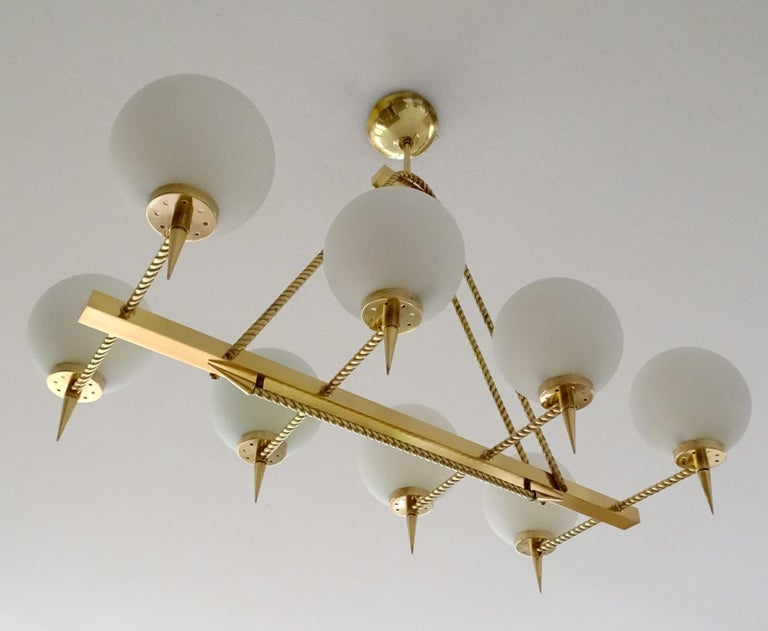Large French Maison Arlus Brass Chandelier Glass Pendant, Stilnovo Gio Ponti Era For Sale 4