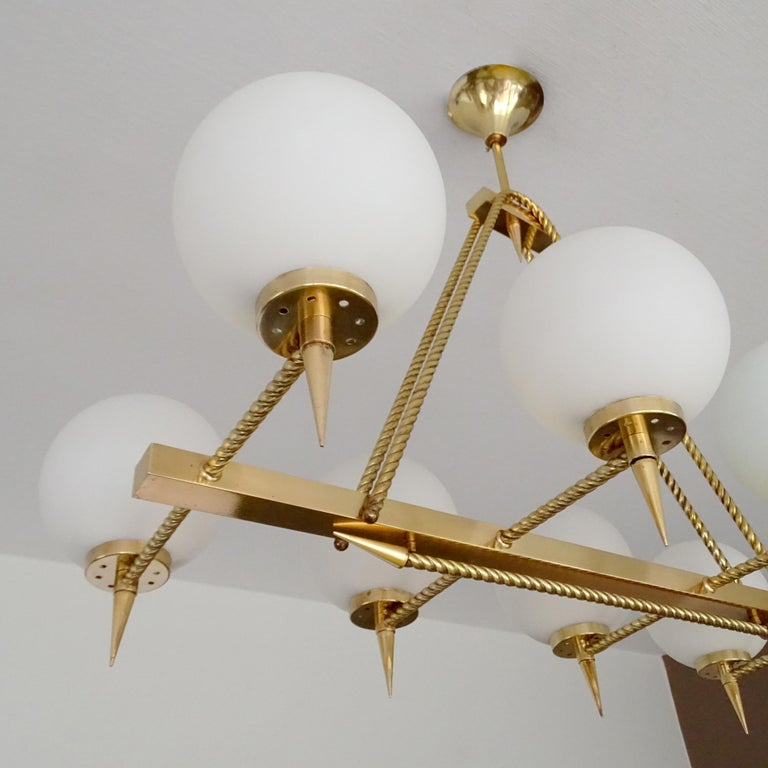 Large French Maison Arlus Brass Chandelier Glass Pendant, Stilnovo Gio Ponti Era For Sale 7