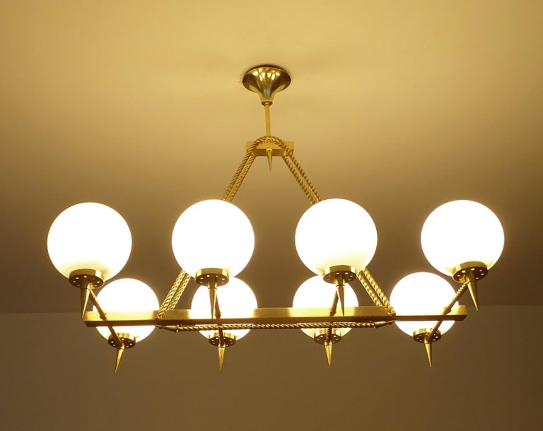 Large French Maison Arlus Brass Chandelier Glass Pendant, Stilnovo Gio Ponti Era In Good Condition For Sale In Bremen, DE