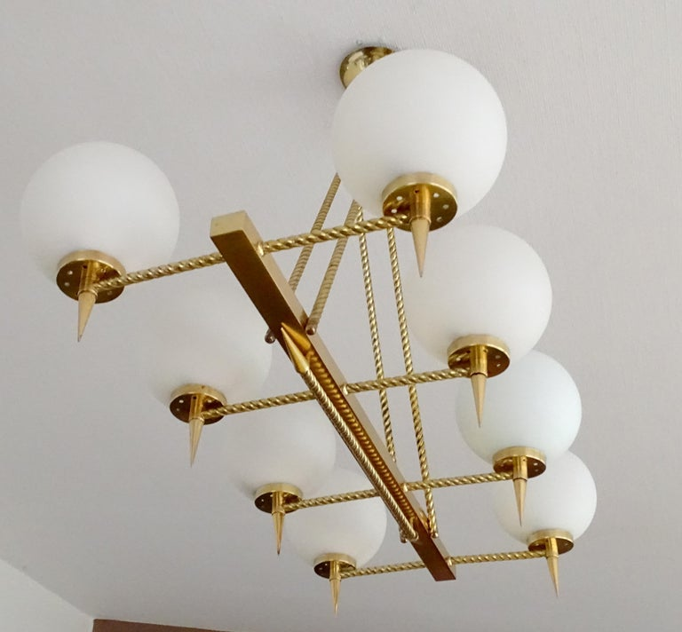 Mid-20th Century Large French Maison Arlus Brass Chandelier Glass Pendant, Stilnovo Gio Ponti Era For Sale