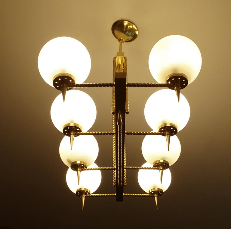 Large French Maison Arlus Brass Chandelier Glass Pendant, Stilnovo Gio Ponti Era For Sale 2