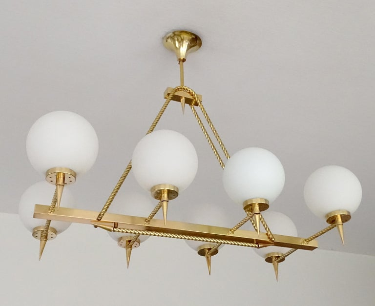 Large French Maison Arlus Brass Chandelier Glass Pendant, Stilnovo Gio Ponti Era For Sale 3
