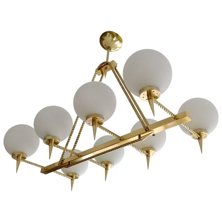 Large French Maison Arlus Brass Chandelier Glass Pendant, Stilnovo Gio Ponti Era For Sale
