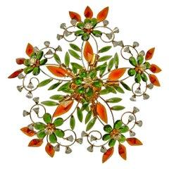 Large French Maison Bagués Style Amber Crystal Prism Flowers & Gilt Flushmount