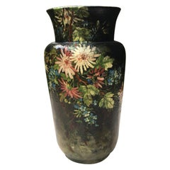 Large French Majolica Vase with Flowers Edouard Gilles, circa 1880