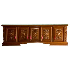 Large French Marble Topped Oak Sideboard Credenza Buffet Heavily Carved