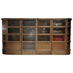 "Large ""French ""MD"" Compartment Oak and Beveled Glass Bookcase Cabinet, 1968"