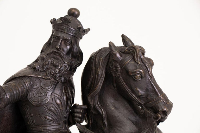 Large French Mid-19th Century Bronze Knight on Horseback In Good Condition For Sale In London, Greenwich