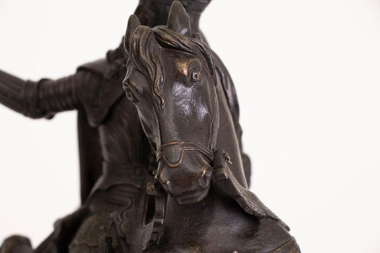 Large French Mid-19th Century Bronze Knight on Horseback For Sale 2