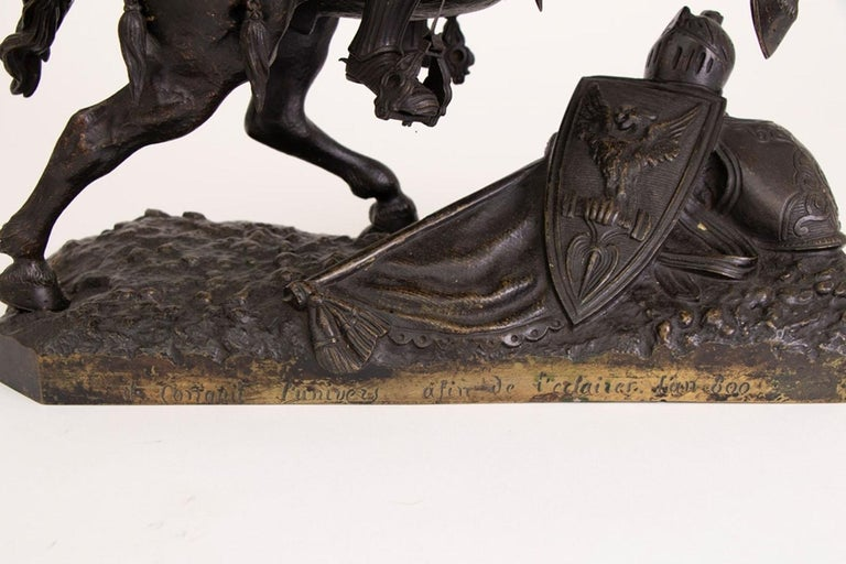 Large French Mid-19th Century Bronze Knight on Horseback For Sale 5