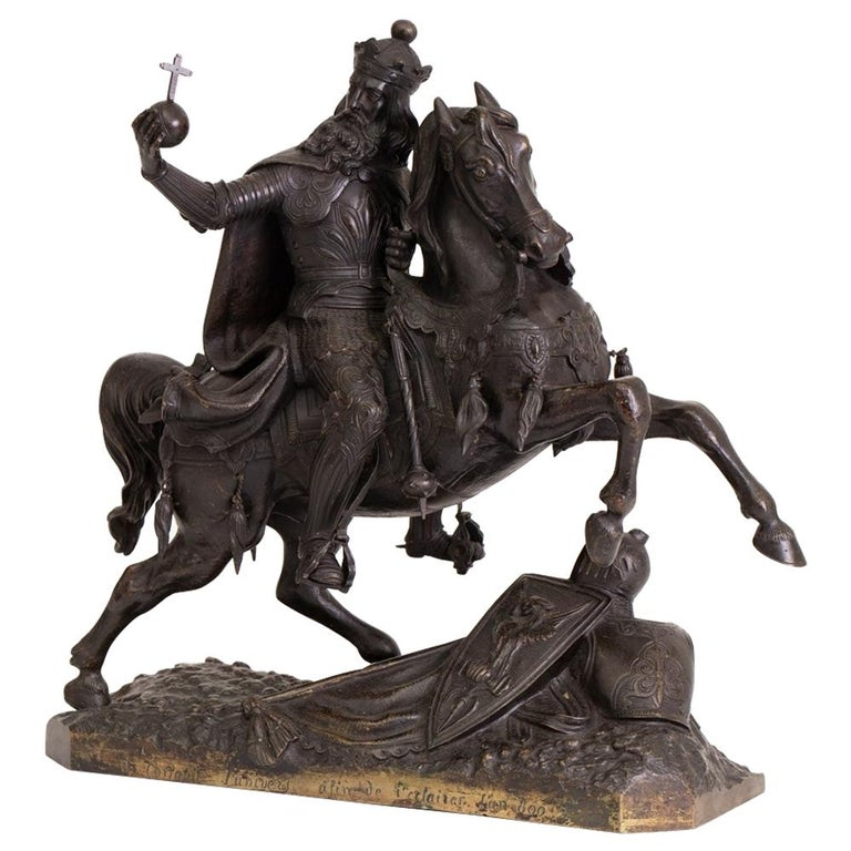 Large French Mid-19th Century Bronze Knight on Horseback For Sale