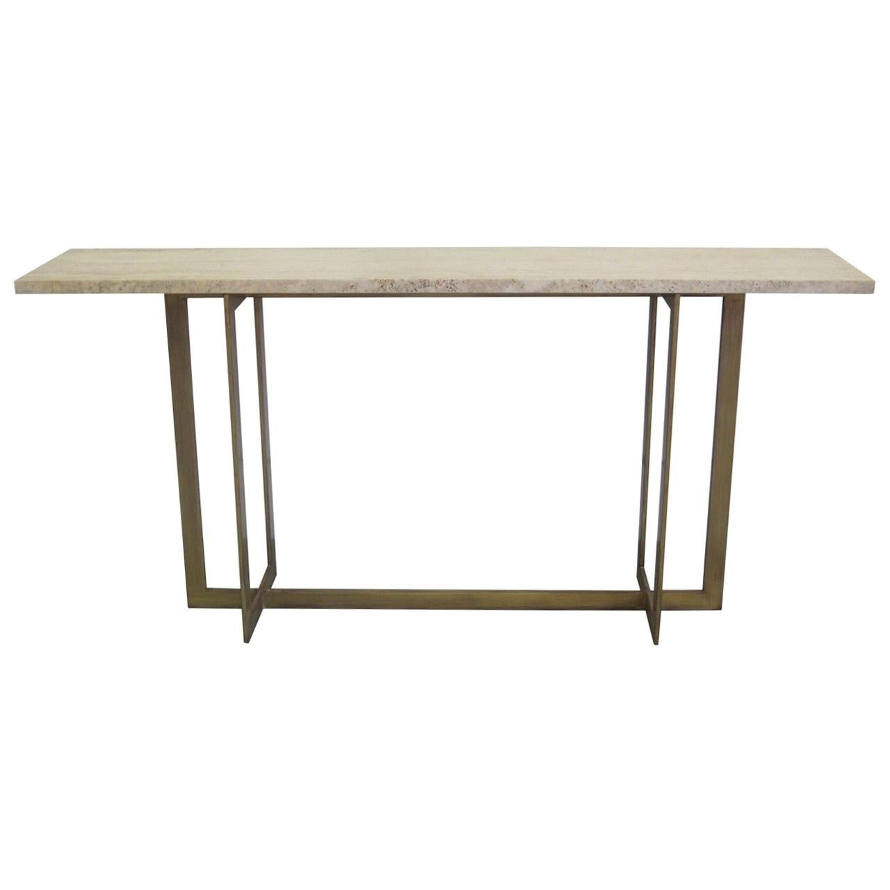 Large French Mid-Century Modern Gilt Wrought Iron Console, Jacques Quinet