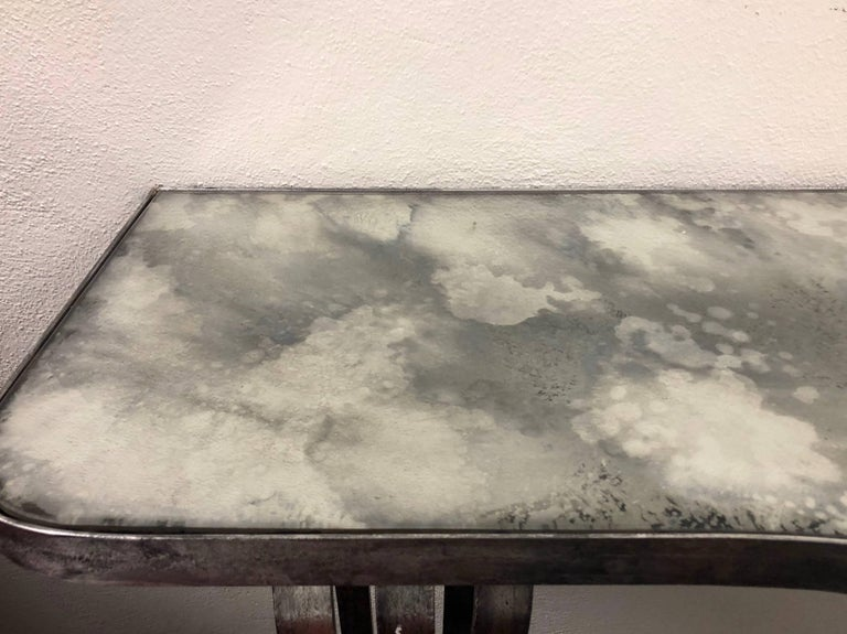 20th Century Large French Mid-Century Modern Silvered Iron Console, Attr. Raymond Subes, 1930 For Sale