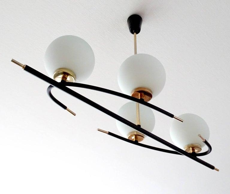 Large  Maison Lunel Brass Chandelier  Pendant Light, Stilnovo Gio Ponti Era For Sale 1