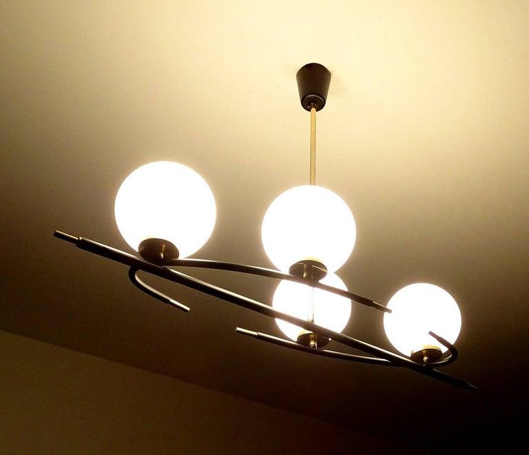 Large  Maison Lunel Brass Chandelier  Pendant Light, Stilnovo Gio Ponti Era For Sale 2