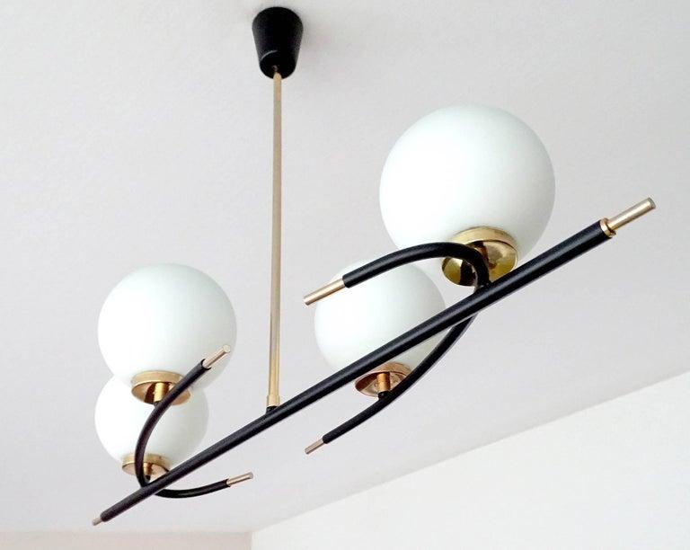 Large  Maison Lunel Brass Chandelier  Pendant Light, Stilnovo Gio Ponti Era For Sale 3