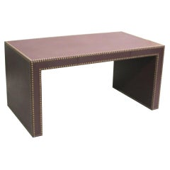 Large French Mid-Century Modern Studded Leather Desk Pierre Lottier, Attributed