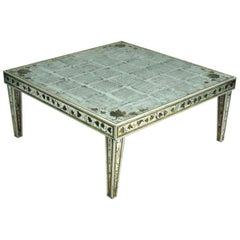 Large French Midcentury Silver Leaf Verre Églomisé Coffee Table, Maison Jansen