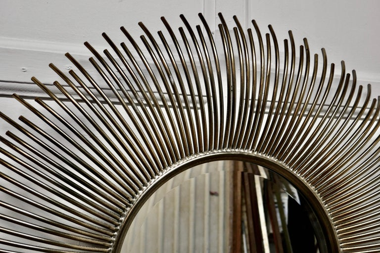 Large French Midcentury Sunburst-Starburst Steel Mirror In Good Condition For Sale In Chillerton, Isle of Wight