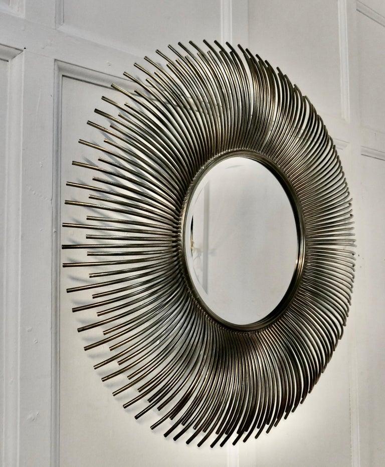 Large French Midcentury Sunburst-Starburst Steel Mirror For Sale 2