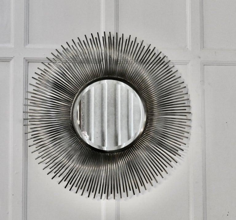 Large French Midcentury Sunburst-Starburst Steel Mirror For Sale 3