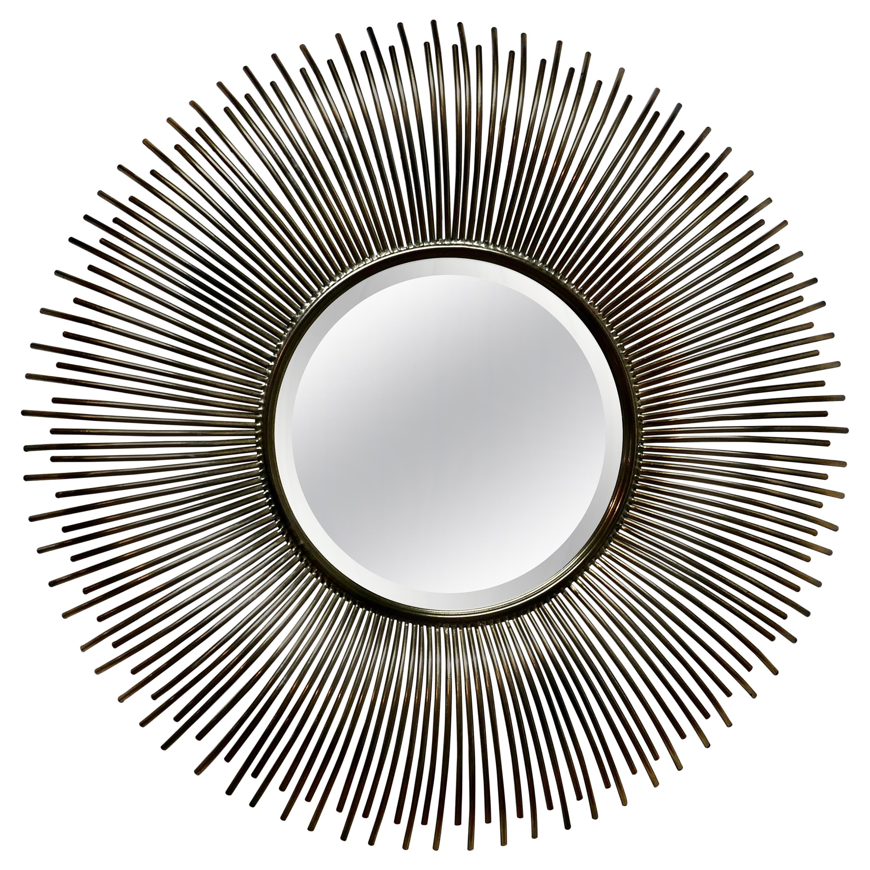Large French Midcentury Sunburst-Starburst Steel Mirror