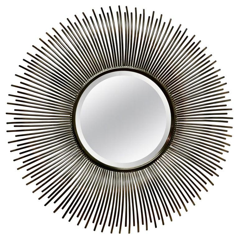 Large French Midcentury Sunburst-Starburst Steel Mirror For Sale