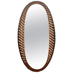 Large French Midcentury Oval Rattan and Wood Wall Mirror, 1950s