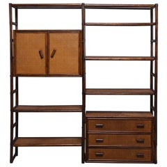 Large French Midcentury Rattan and Caned Wall Unit