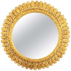 Large French Midcentury Round Carved Gold Leaf Giltwood Sunburst Mirror, 1950s