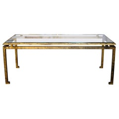 Large French Modern Neoclassical, Gilt Iron Coffee Table, Maison Ramsay