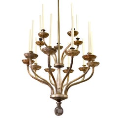 Large French Modern Neoclassical Silvered Brass Chandelier by Maison Baguès 1940