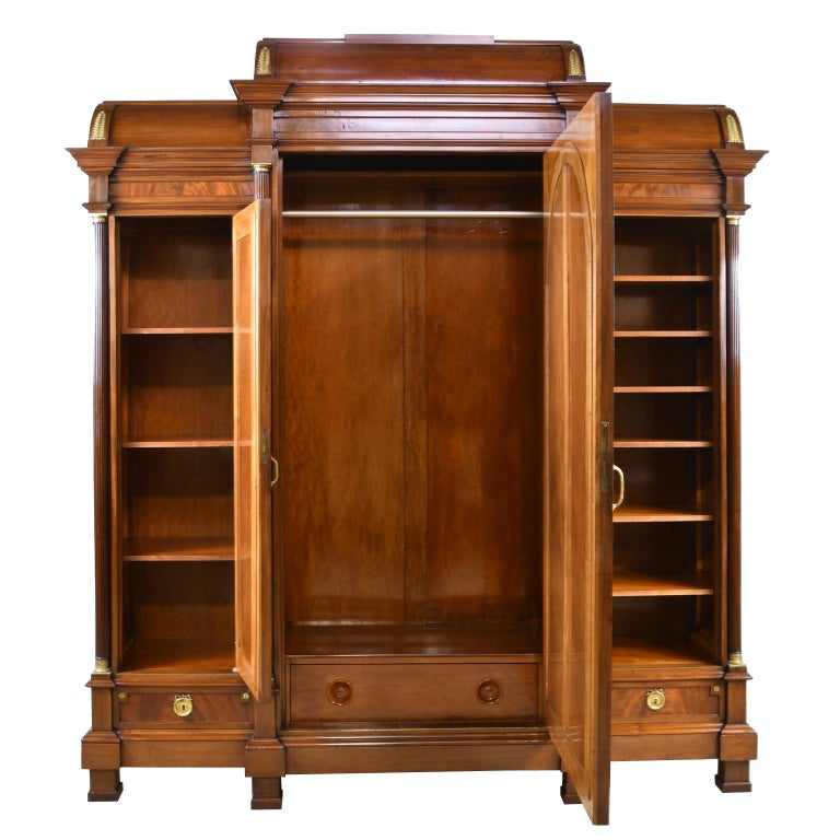 Gilt Large French Napoleon III Armoire in Mahogany with 3 Mirrored Doors For Sale