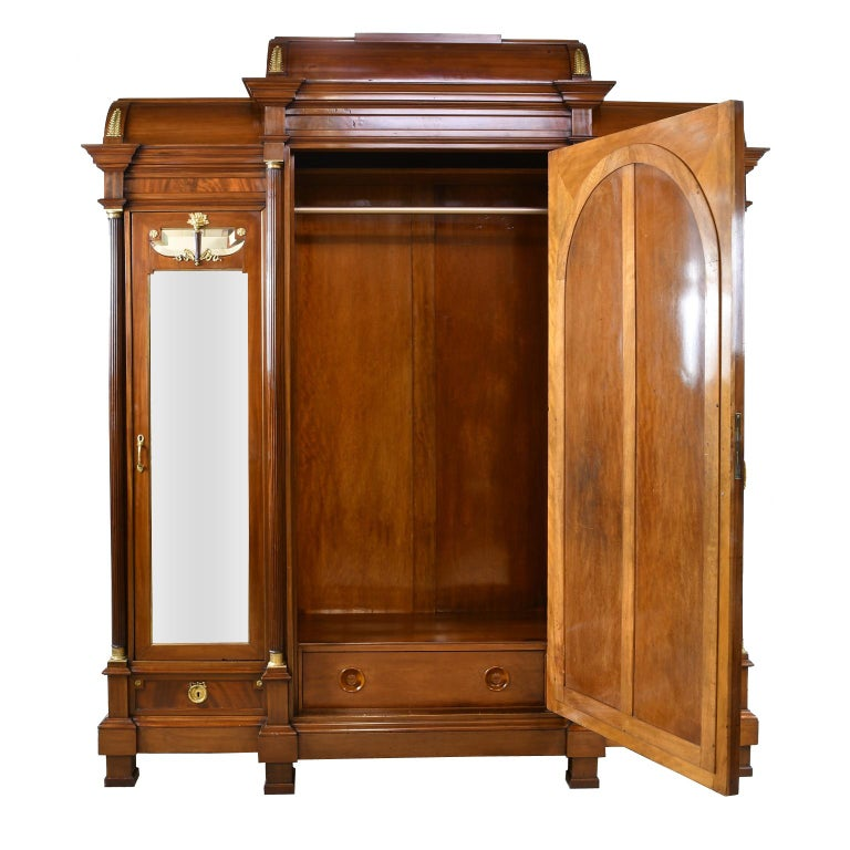 Large French Napoleon III Armoire in Mahogany with 3 Mirrored Doors In Good Condition For Sale In Miami, FL