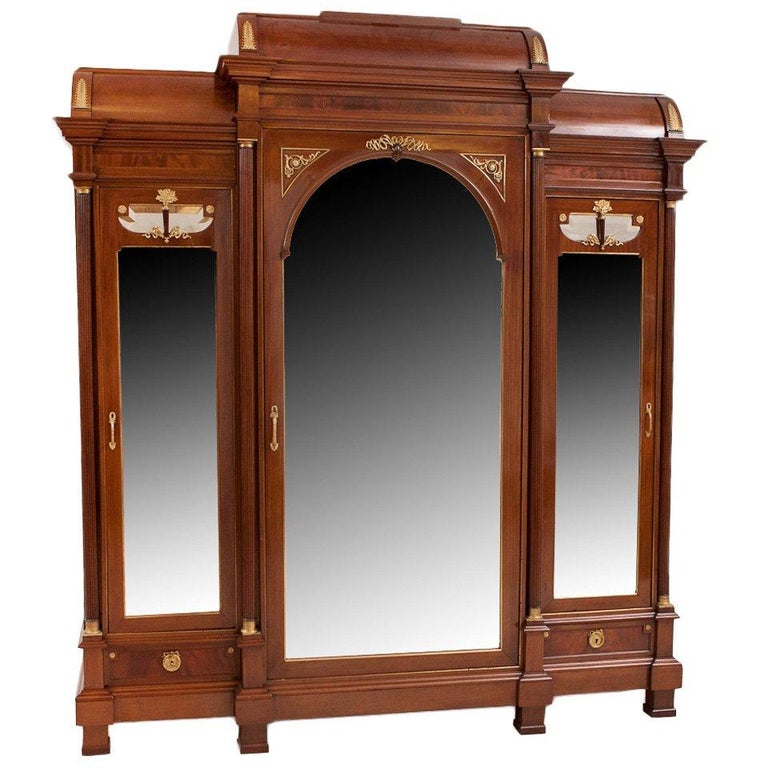 Late 19th Century Large French Napoleon III Armoire in Mahogany with 3 Mirrored Doors For Sale