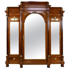 Large French Napoleon III Armoire in Mahogany with 3 Mirrored Doors