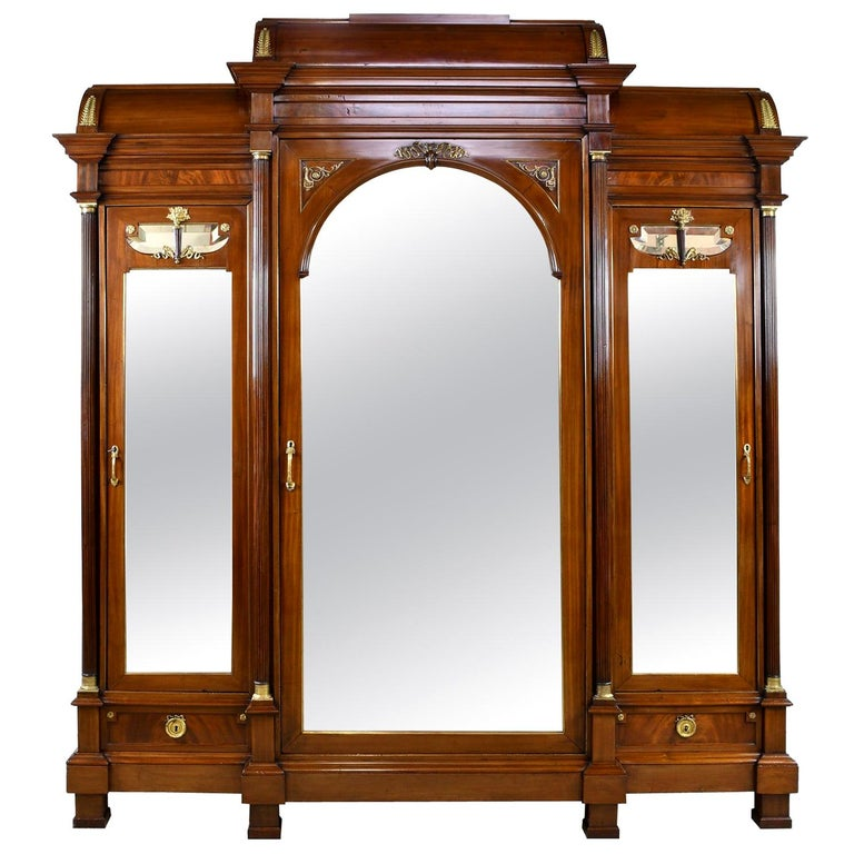 Large French Napoleon III Armoire in Mahogany with 3 Mirrored Doors For Sale