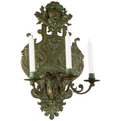 Large French Neoclassical Style Bronze Three-Light Wall Light, Late 19th Century