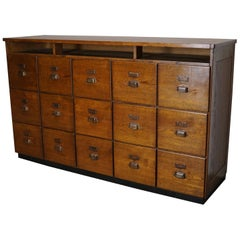 Large French Oak Apothecary Cabinet, 1930s