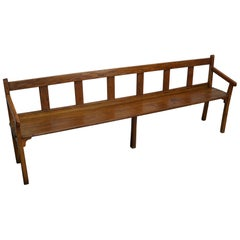 Large French Oak Bench, Late 19th Century