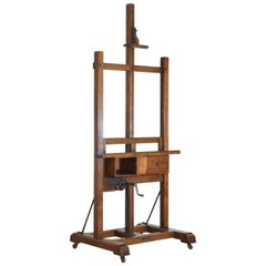 Large French Oak Easel Original Casters Supply Box & Working Crank, 19th Century