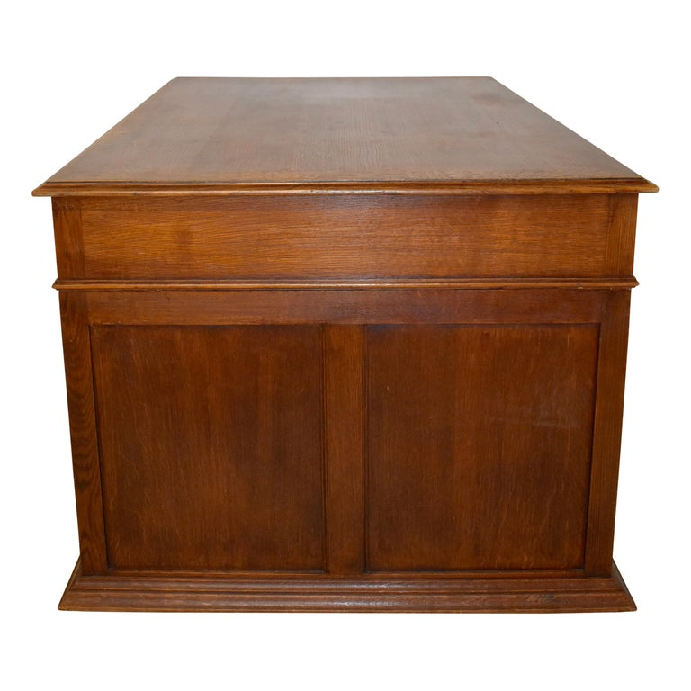 Large French Oak Partner's Desk, circa 1880 In Good Condition For Sale In Evergreen, CO