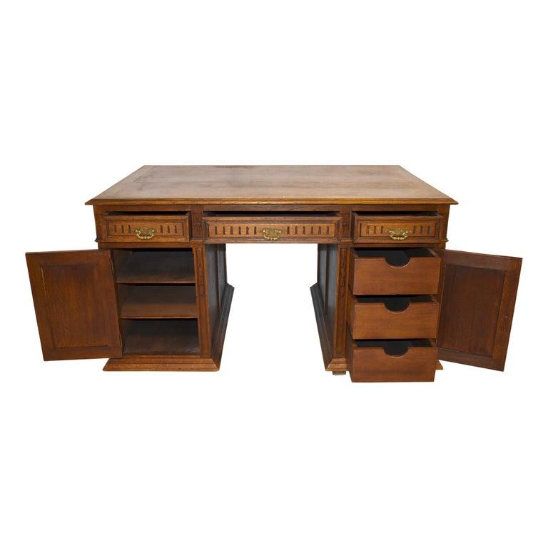 19th Century Large French Oak Partner's Desk, circa 1880 For Sale