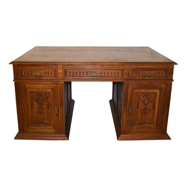 Large French Oak Partner's Desk, circa 1880 For Sale 1