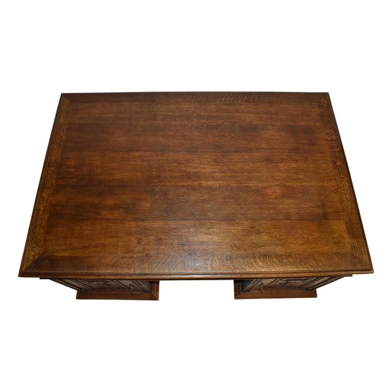 Large French Oak Partner's Desk, circa 1880 For Sale 2