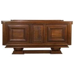Large French Oak Sideboard, Credenza Charles Dudouyt, Brutalist Art Deco Antique